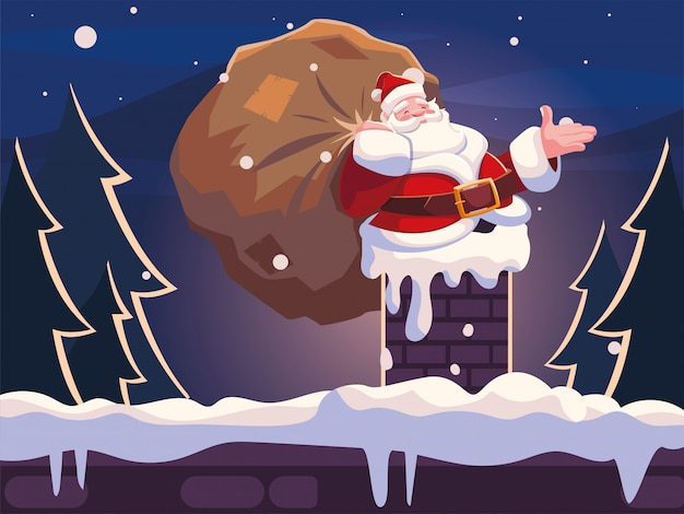 Christmas cartoon of santa claus entering the chimney