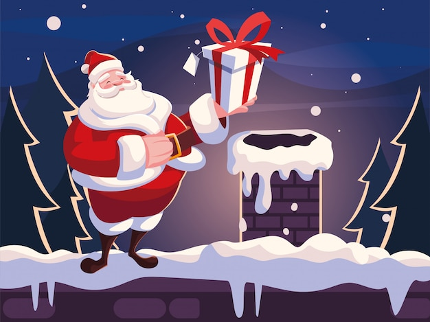 Christmas cartoon of santa claus with gift box on the roof