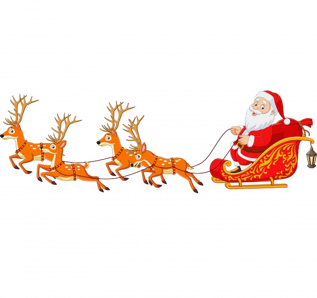 Christmas cartoon santa with reindeer sleigh