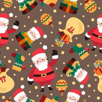 サンタクロースとクリスマス漫画のシームレスなパターン