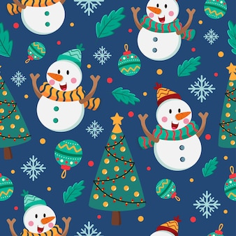 Christmas cartoon seamless pattern with snowman
