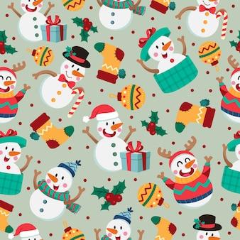 雪だるまとクリスマス漫画のシームレスなパターン