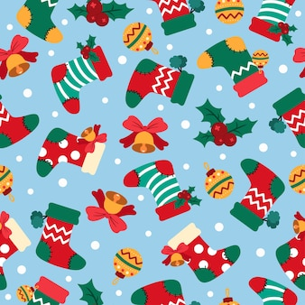 Christmas cartoon seamless pattern with socks