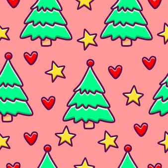 Рождественский мультфильм бесшовные модели с деревьями, звездами и сердечками