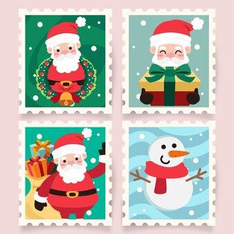 サンタクロースとクリスマス漫画のスタンプ