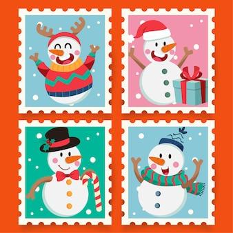 Рождественский мультфильм штамп со снеговиком