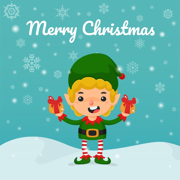 Christmas cartoon vector. elves and gift boxes in hand to give away children on christmas.