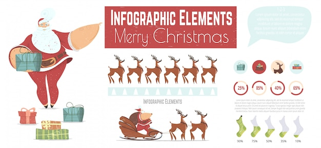 Christmas cartoon vector infographics elements set