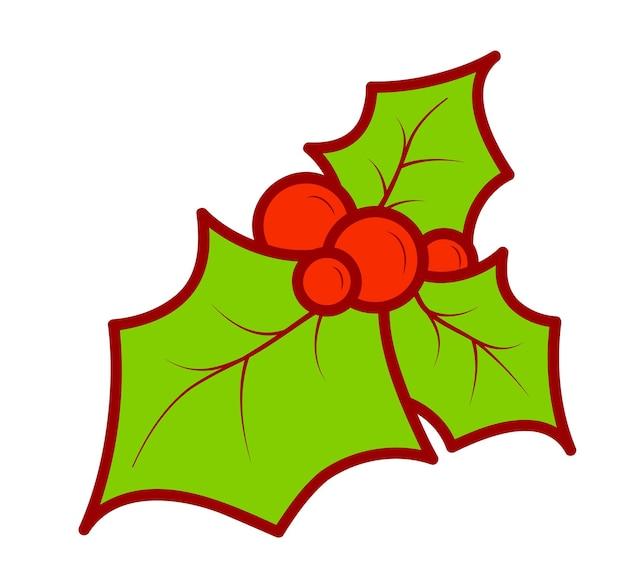 크리스마스 만화 클립 아트입니다. 홀리 클립 아트 벡터 일러스트 레이 션.