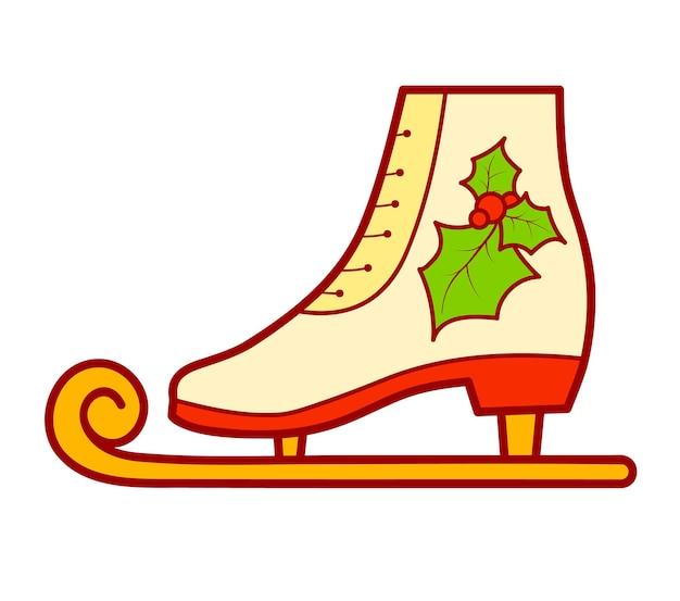 크리스마스 만화 클립 아트입니다. 스케이트 클립 아트 벡터 일러스트 레이 션.