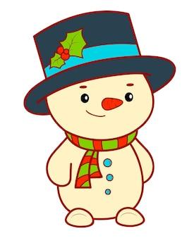 Рождественские мультфильмы картинки. снеговик клипарт векторные иллюстрации.