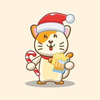 Christmas cat holding beer and christmas candy