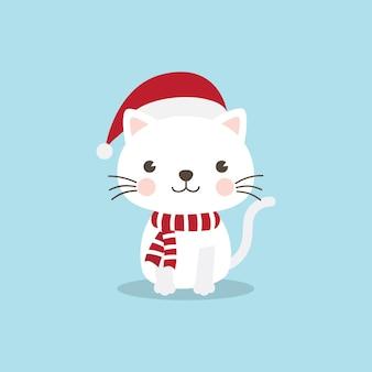 Christmas Cat Kitten cartoon character.