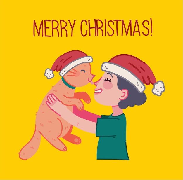 크리스마스 고양이 메리 크리스마스 소녀 포옹 고양이 젊은 사람의 일러스트