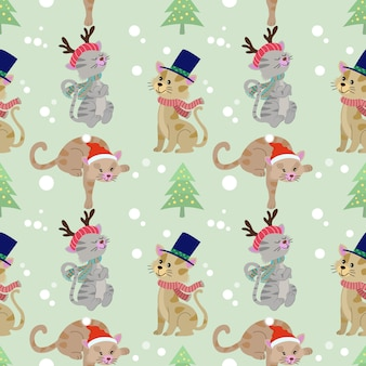 Christmas cat seamless pattern.