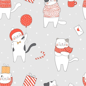Christmas cat seamless pattern