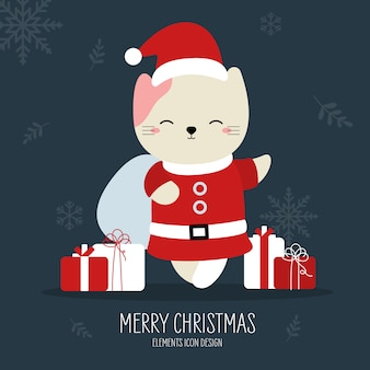 Christmas cat with gift animal hand drawn style