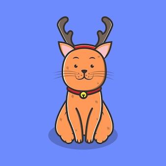 トナカイの帽子の漫画のキャラクターとクリスマスの猫。クリスマスのコンセプト