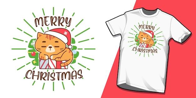 Tシャツデザインのクリスマス猫