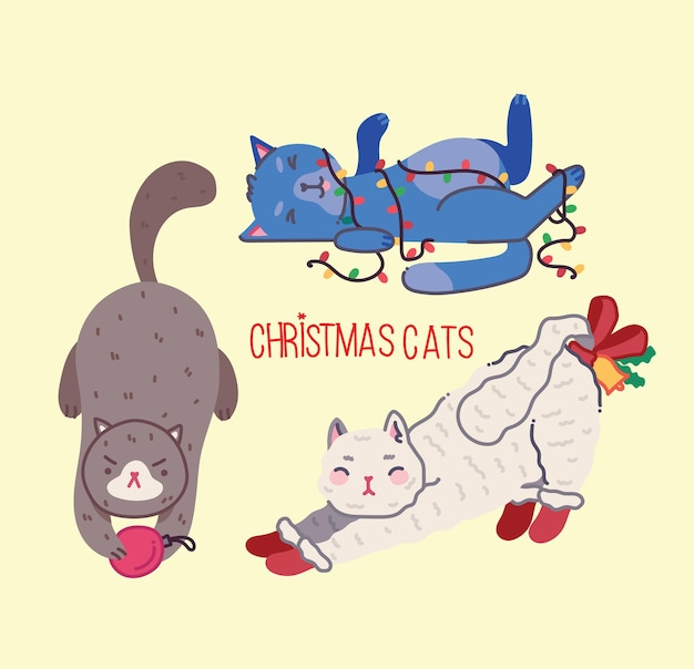 Рождественские кошки с рождеством иллюстрация милых кошек с аксессуарами, такими как вязаный свитер с шапкой