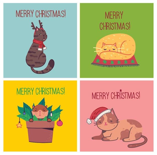 Рождественские кошки, с рождеством иллюстрации милых кошек с аксессуарами, такими как вязаные шапки, свитера, шарфы