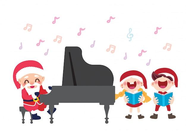 Christmas celebration children choir and pianist santa