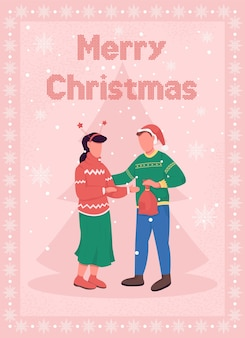 Christmas celebration for couple greeting card flat template. lovers give presents on xmas. brochure, booklet one page concept design with cartoon characters. winter holiday flyer, leaflet