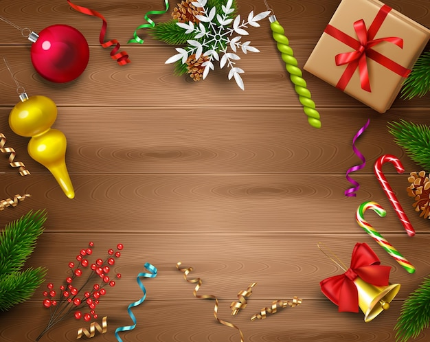 Christmas celebration decoration composition on wood with merry holiday symbols realistic