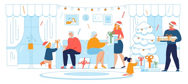 Christmas celebration family tradition flat vector