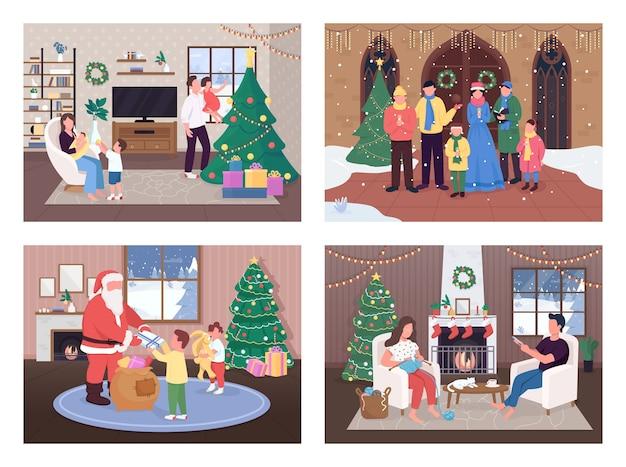 Рождественский праздник плоский набор цветных иллюстраций