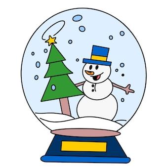 크리스마스 축하 유리 공입니다. 만화 그림 스티커 마스코트 이모티콘