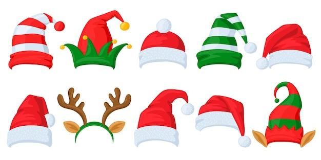 クリスマスのお祝いの帽子。漫画のサンタクロース、エルフとトナカイの角の仮面舞踏会の帽子ベクトルイラストセット。クリスマスの休日のお祝いの帽子。クリスマス休暇サンタクロースキャップ、トナカイ漫画