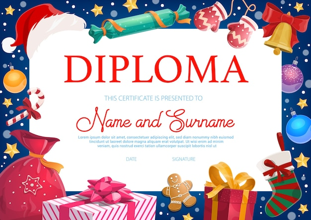 Рождественский праздник детский диплом с подарками, игрушками и сладостями. елочный шар, человек с пряниками и обернутые подарки, чулок и мультфильм леденцов. шаблон диплома детского сада