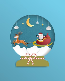 Christmas celebration poster in paper cut style. paper art made santa claus and reindeer flying over the cloudscape.