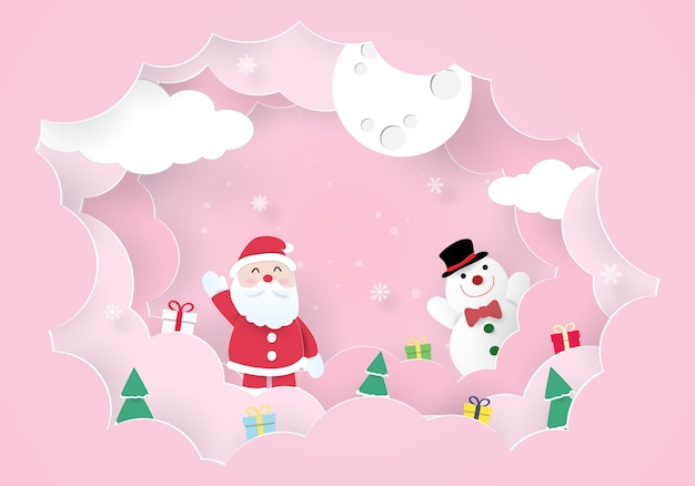 Christmas celebrations, happy new year, santa claus and snowman