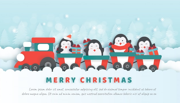Christmas celebrations with cute penguins siting on the train in paper cut and craft style.