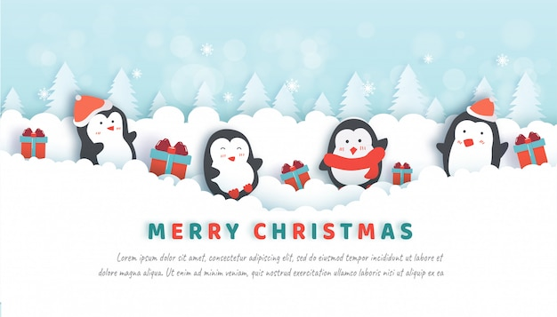 Christmas celebrations with cute penguins in the snow forest for christmas card