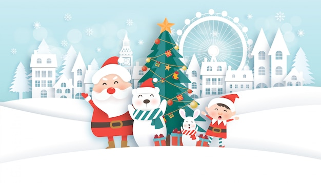Christmas celebrations with santa and  cute animals in the snow town for christmas card