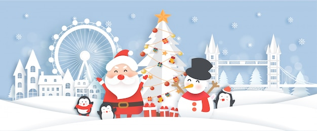 Christmas celebrations with santa and cute animals in the snow town illustration