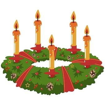 촛불 벡터 만화 일러스트와 함께 크리스마스 중심 화환 흰색에 고립