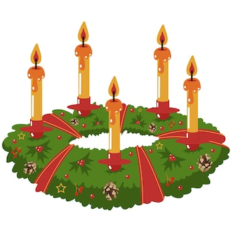 Christmas centerpiece wreath with candle vector cartoon illustration isolated on a white