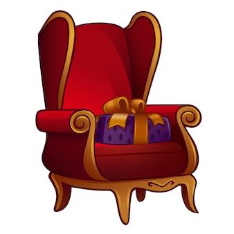 Рождественский стул с подарком. изолированные на белом