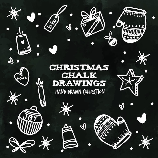 Christmas chalk drawings - hand drawn collection