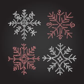 Christmas chalk snowflakes elements