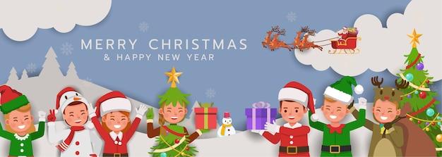 カード、バナー、背景のクリスマスキャラクター。