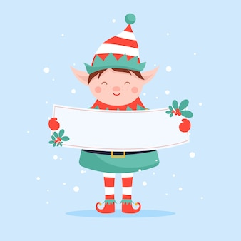 Christmas character holding blank banner