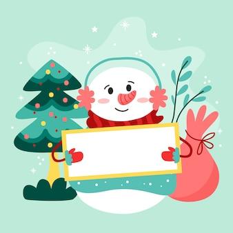 Christmas character holding blank banner