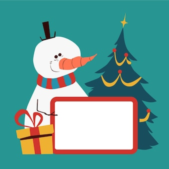 빈 배너를 들고 크리스마스 문자