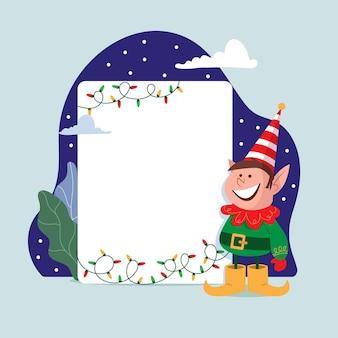 Рождественский персонаж держит пустой знамя