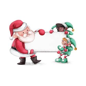 空白のバナーを保持しているクリスマスのキャラクター